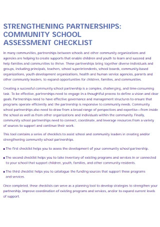 School Assessment Checklist Template
