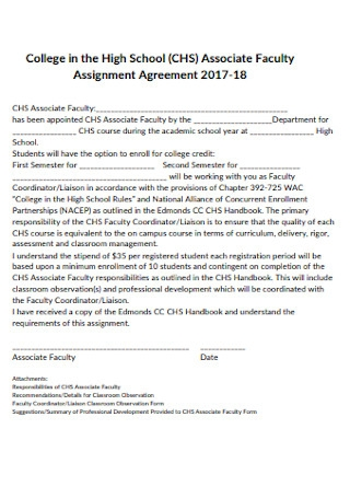 School Faculty Assignment Agreement