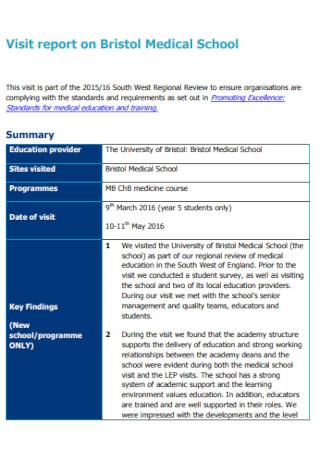 School Visit Report Template