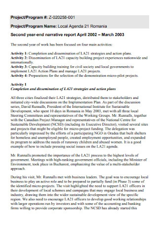 Second Year Narrative Report