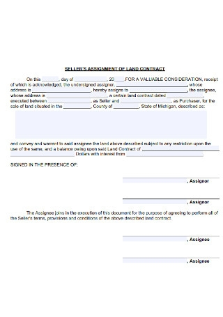 Sellers Assignment of Land Contract