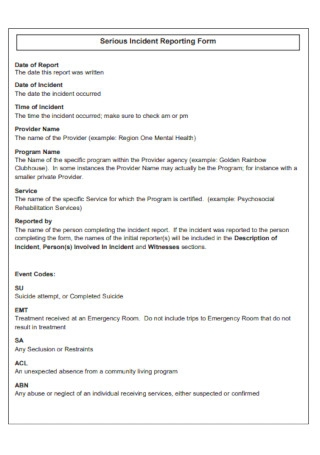 Serious Incident Reporting Form