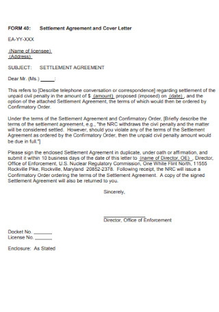Settlement Agreement and Cover Letter