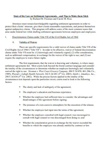 Settlement Law Agreements