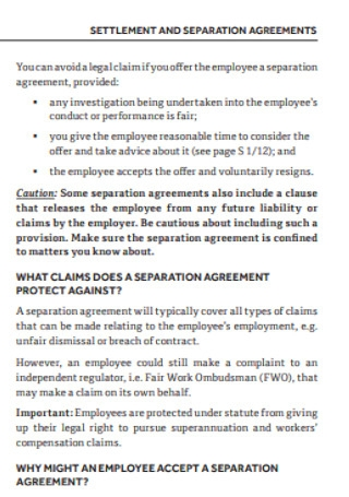 Settlement and Separation Agreement
