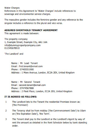 Shorthold Tenancy Agreement Template