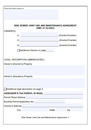 Side Sewer Joint Agreement