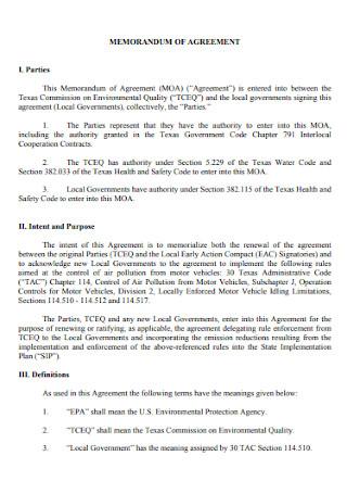Simple Memorandam Agreement Template