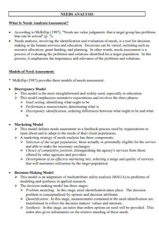 Simple Needs Analysis Template
