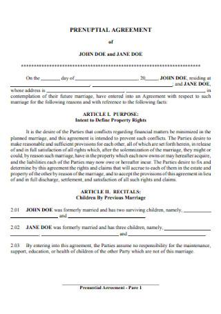 Simple Prenuptial Agreement Template