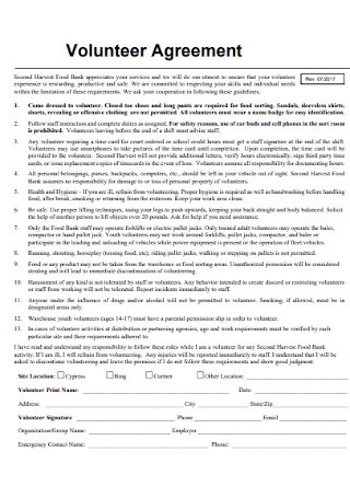 Simple Volunteer Agreement Template