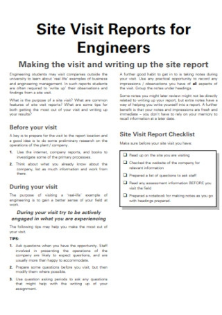 Site Visit Reports for Engineers