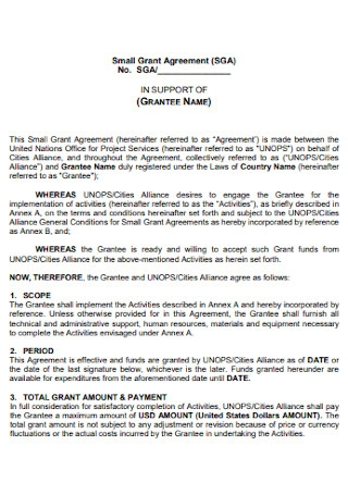 Small Grant Agreement