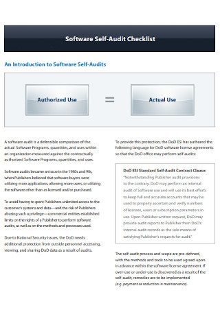 Software Self Audit Checklist