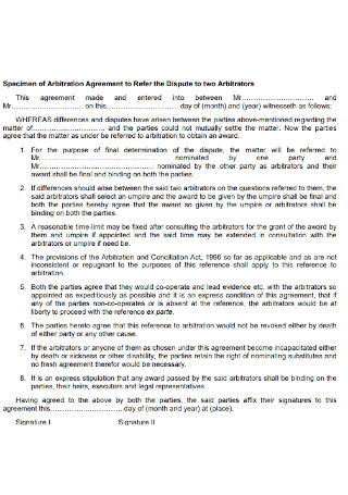 Specimen of Arbitration Agreement