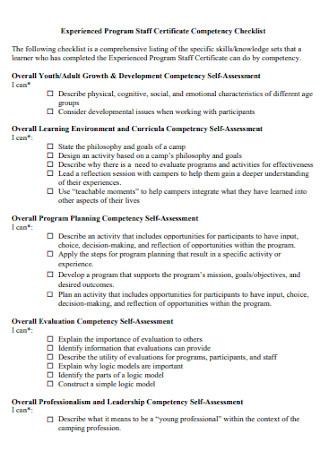 Staff Certificate Competency Checklist