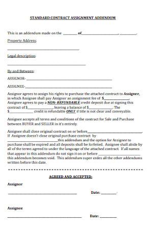 Standard Addendum Assisgnment Contract