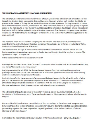 Standard Arbitration Agreement Template