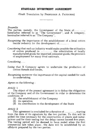 Standard Investment Agreement