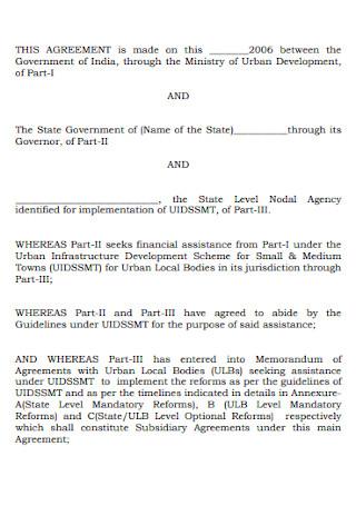 Standard Memorandum Agreement