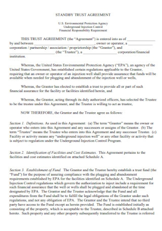 Standby Trust Agreement