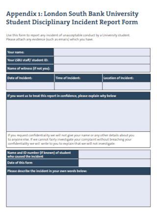 Student Disciplinary Incident Report Form