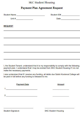 Student Housing Payment Plan Agreement