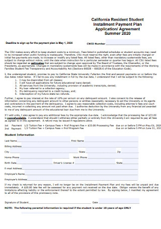 Student Payment Plan Agreement