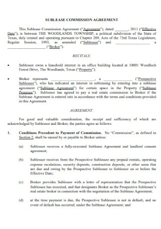 Sublease Commission Agreement