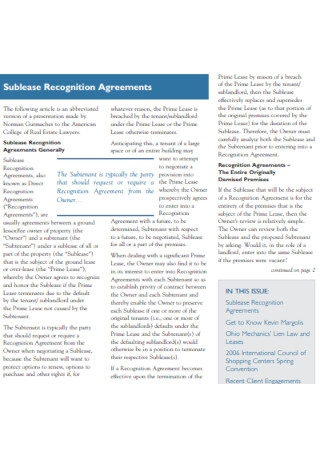 Sublease Recognition Agreements