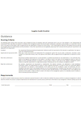 Supplier Audit Checklist