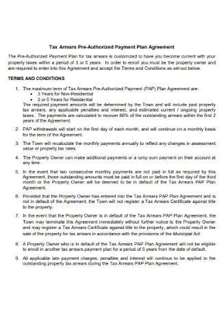 Tax Payment Plan Agreement