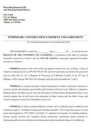 Temporay Construction Easement and Agreement