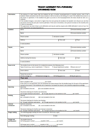 Tenancy Agreement for Room