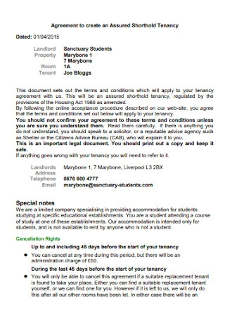 Tenancy Student Agreement Template