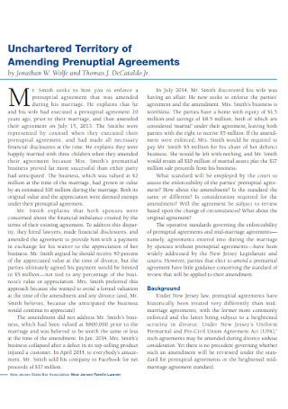 Territory of Amending Prenuptial Agreements