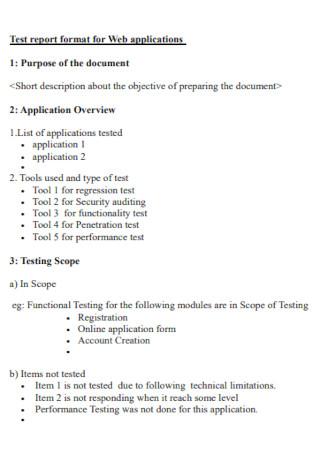 Test Report Format