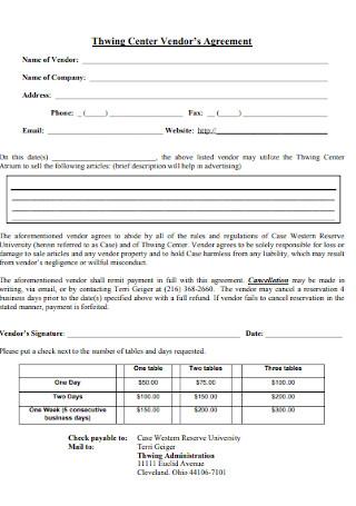 Thwing Center Vendors Agreement