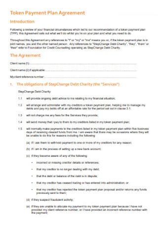 Token Payment Plan Agreement