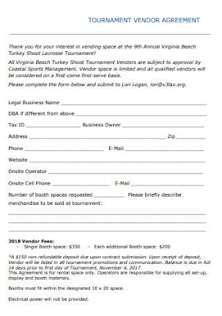 Tournament Vendor Agreement