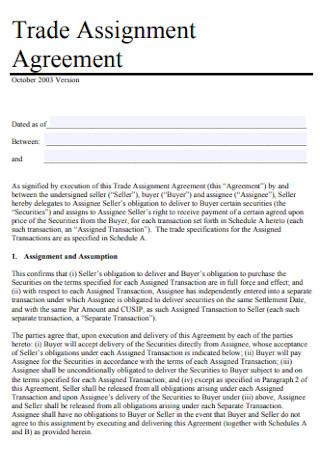 Trade Assignment Agreement