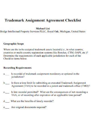 Trademark Assignment Agreement Checklist