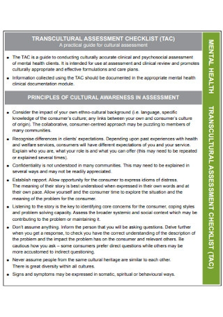 Transcultural Assessment Checklist Template