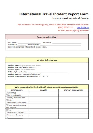 Travel Incident Report Form