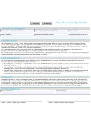 Trust Account Agreement