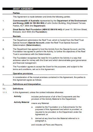 Trust Grant Agreement