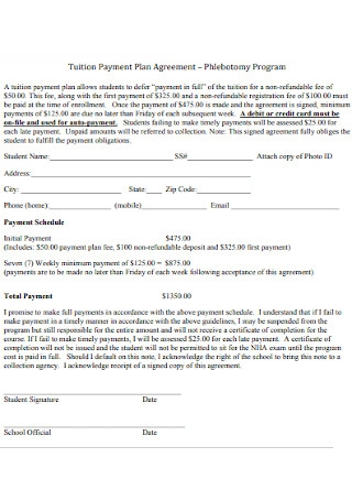 Tuition Payment Plan Agreement