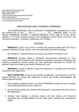 Underground Cable Easement Agreement