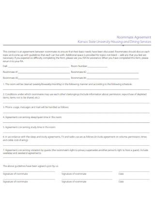 University Housing Roommate Agreement Template