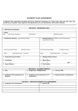 University Payment Plan Agreement